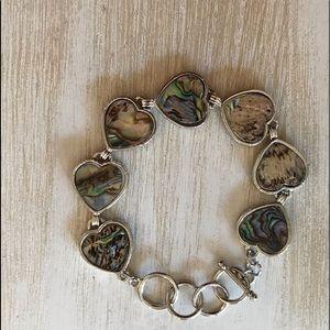 NWT.GENUINE Abalone Shell 🐚 heart toggle bracelet
